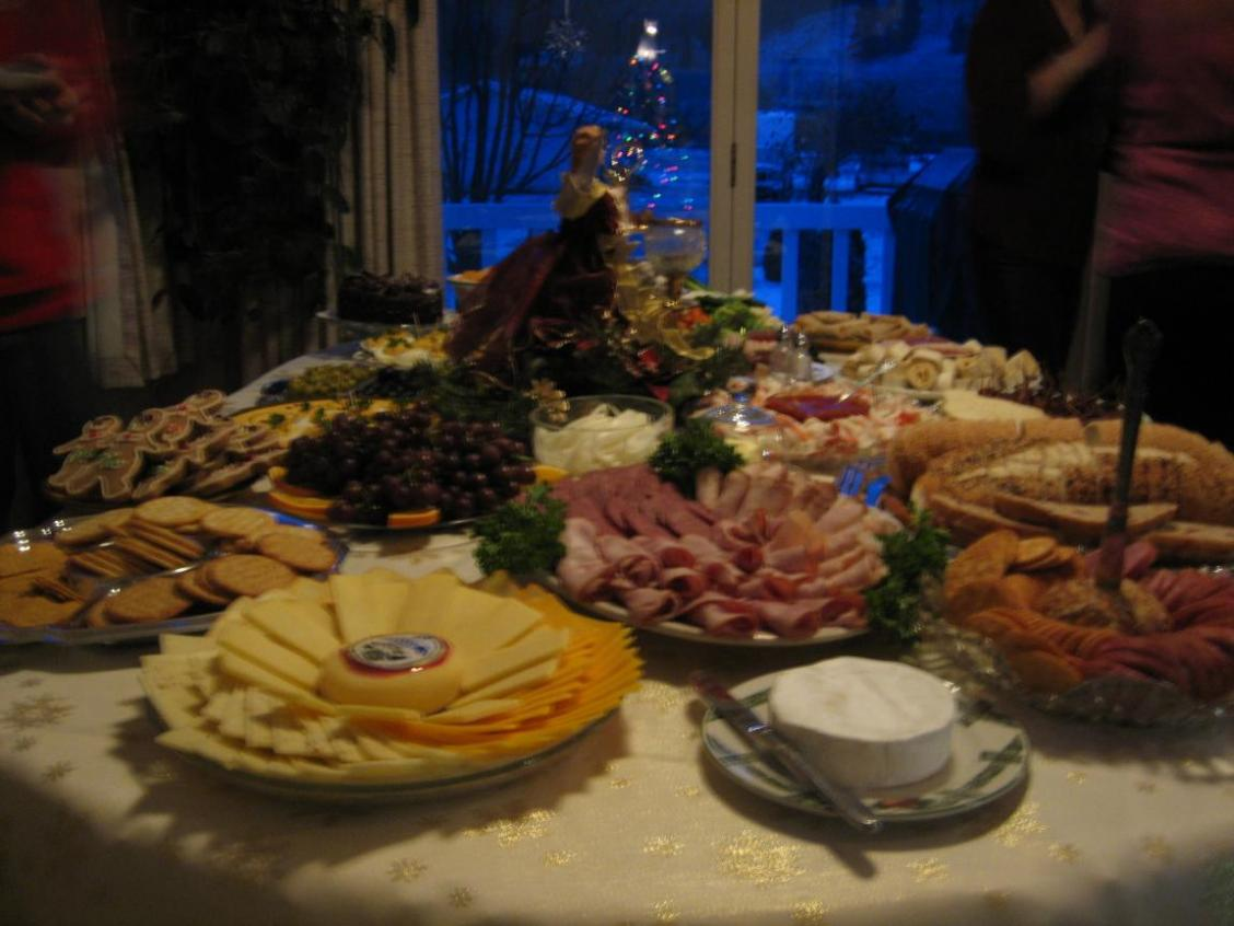 table spread with Christmas food