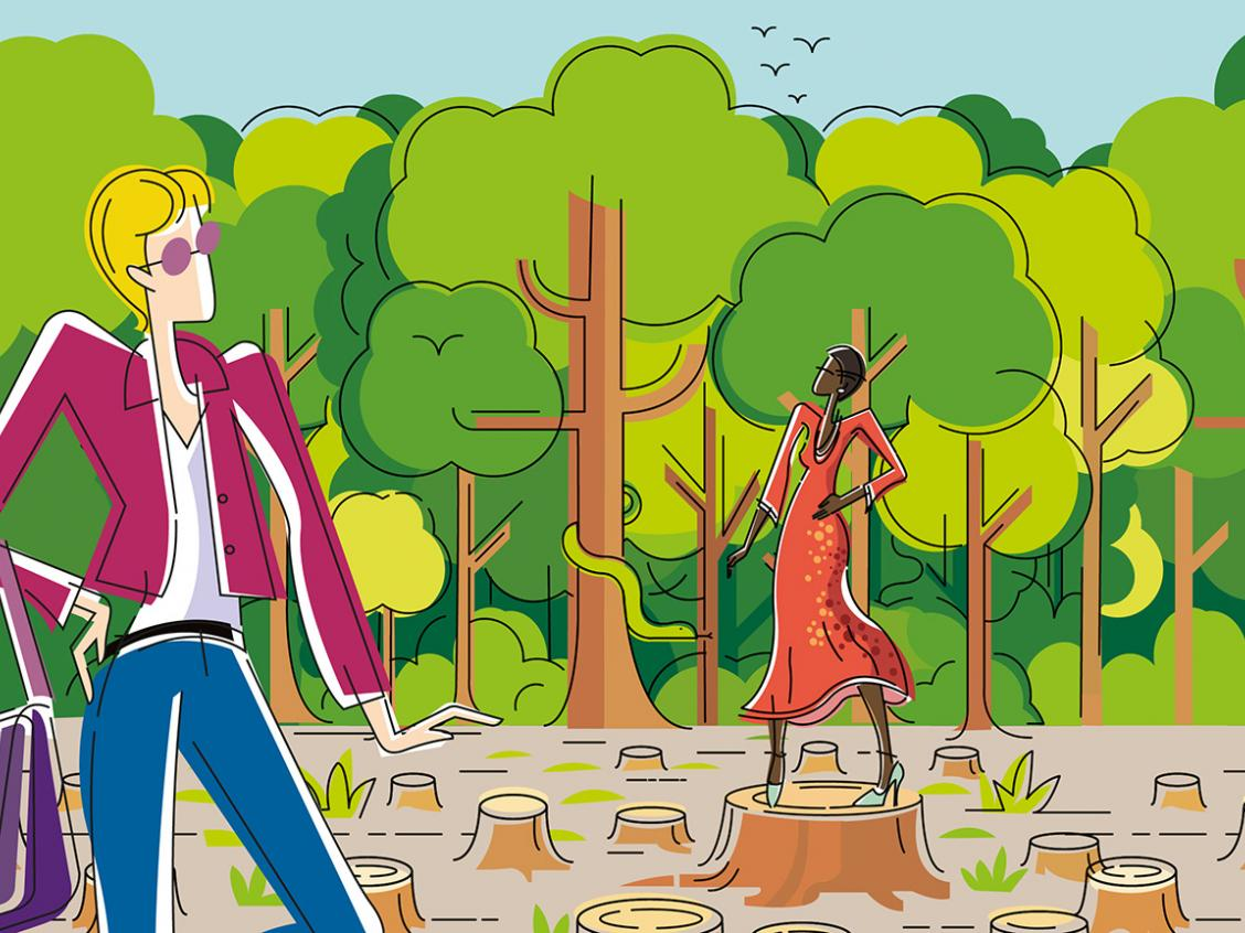 Illustration of fashion models and deforestation
