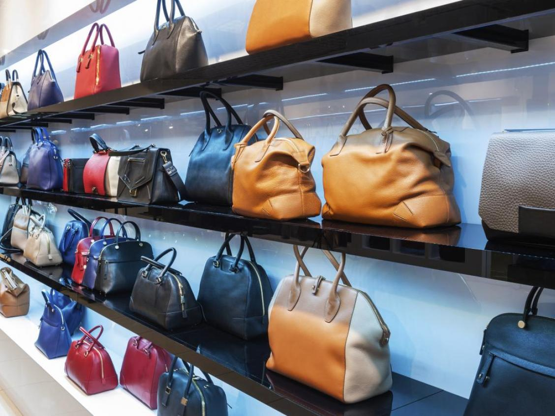 Handbags on shelves