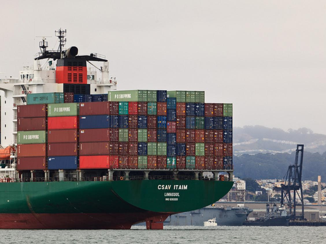 Photo shows a container ship