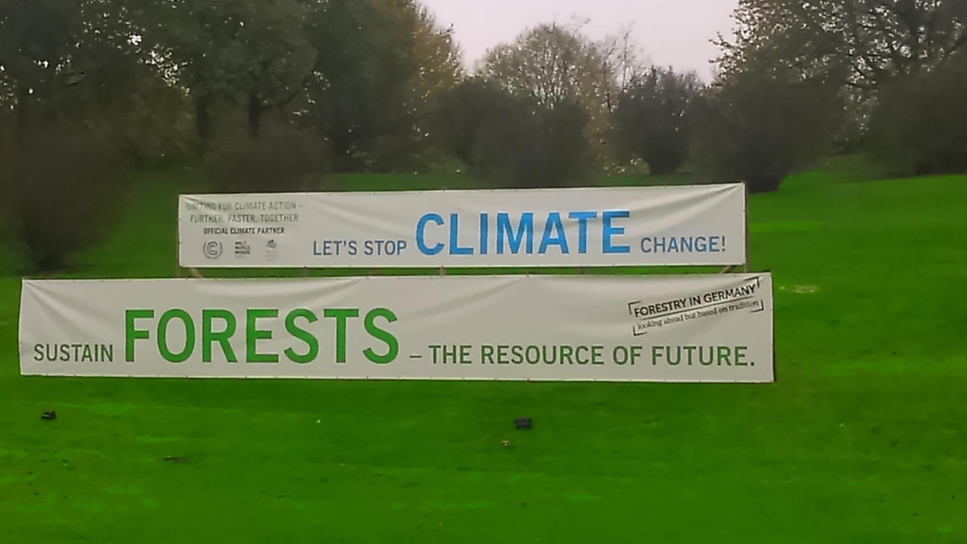 Photo shows a forests banner outside COP23