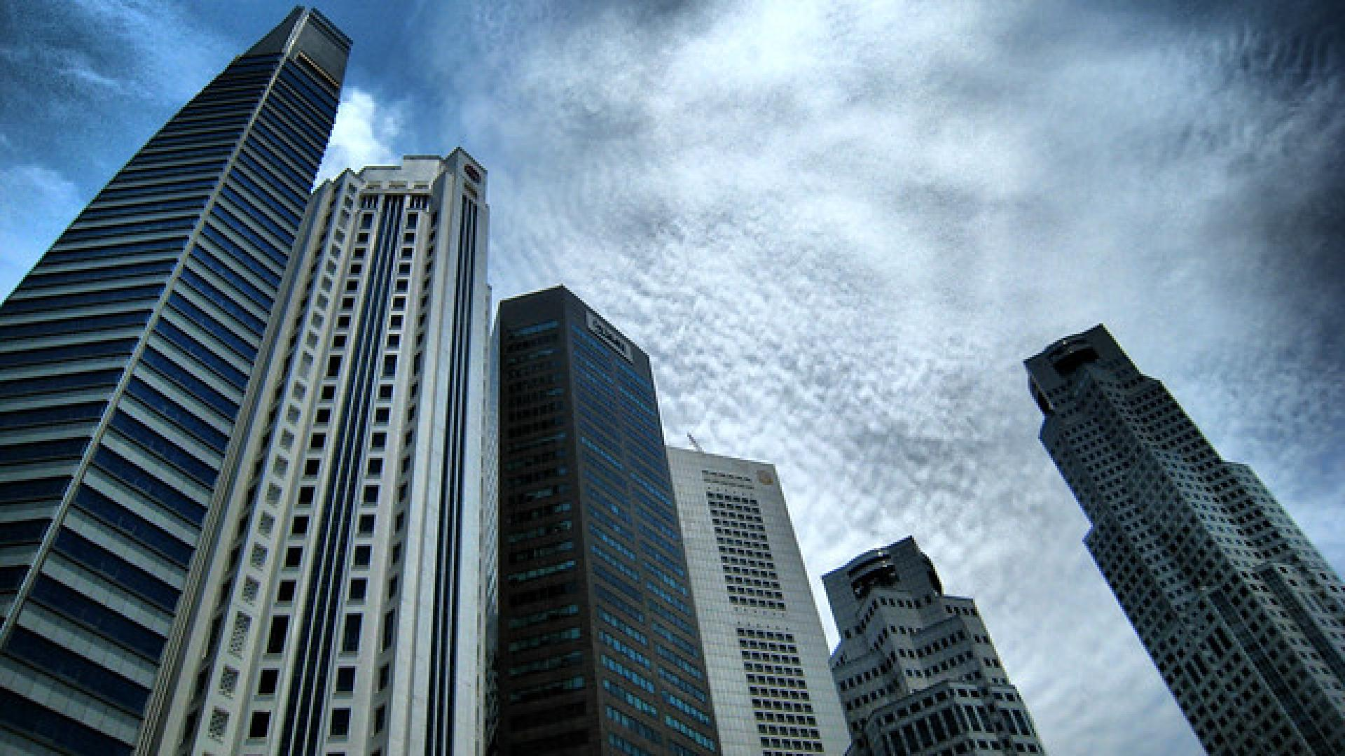 Photo shows finance district, Singapore