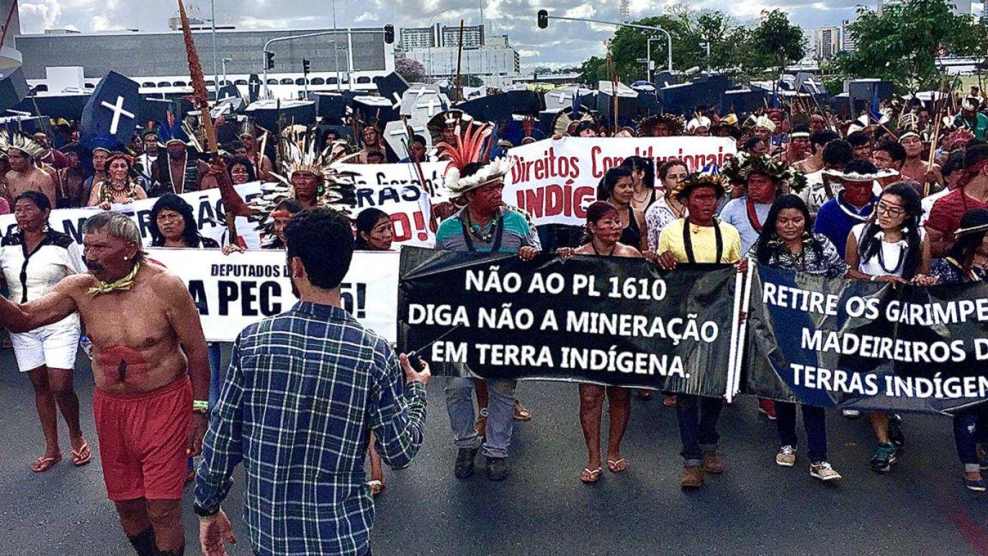 Indigenous groups demonstrate against changes to the laws protecting their territory