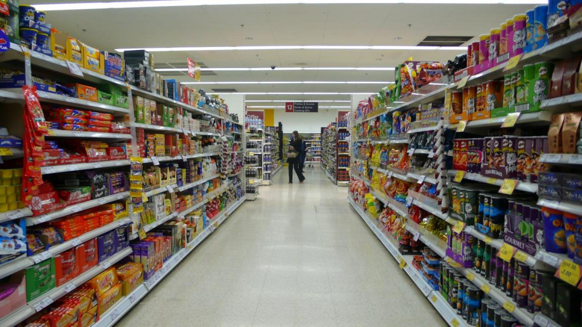 Photo shows consumer goods in a supermarket
