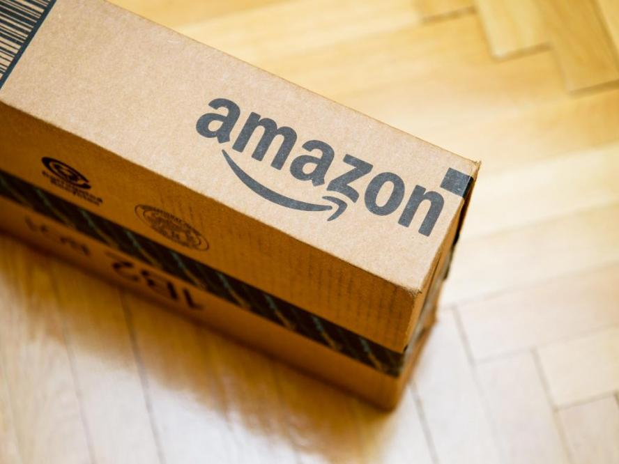 Image shows an Amazon cardboard box